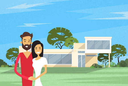 outside the house: Couple Embracing In Front Of New House Modern Villa Vector Illustration Illustration