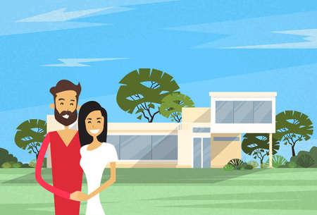 Paar Omhelzen Voor Nieuw Huis Modern Villa Vectorillustratie