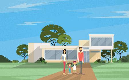 Padres Famity dos niños en frente de la ilustración de la nueva casa moderna Villa del vector