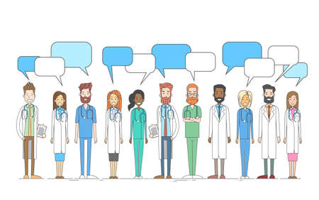 chat box: Group Medial Doctors Team Work With Copy Space Chat Box Vector Illustration Illustration