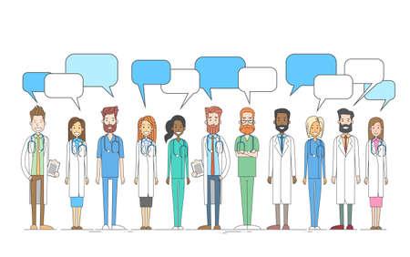 Gruppe Medial Ärzte-Team-Arbeit mit Textfreiraum Chat Box Vektor-Illustration