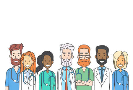 group network: Group Medial Doctors Team Work Thin Line Profile Icon Vector Illustration