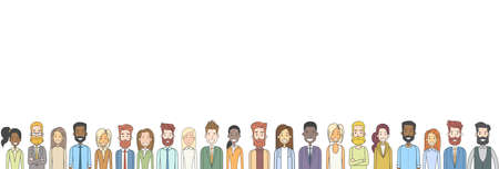 Group of Casual People Big Crowd Mix Race Diverse Ethnic Horizontal Banner Vector Illustration Ilustrace