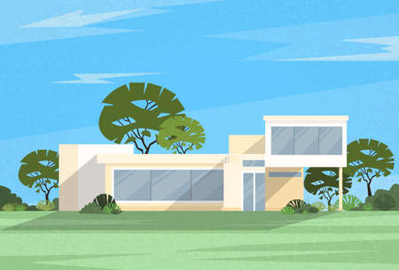 family outside house: Real Estate Big Modern Villa House Vector Illustration