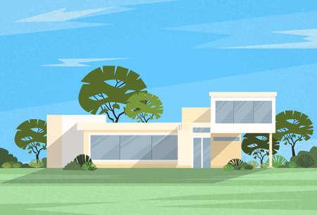 Real Estate Big Modern Villa House Vector Illustration
