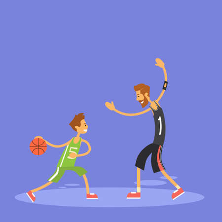tall and short: School Boy Playing Basketball Sport Game Flat Vector Illustration