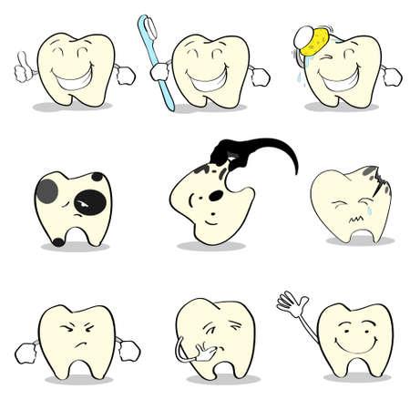 Ilustración dientes Dental Health Care colección determinada del plano vectorial