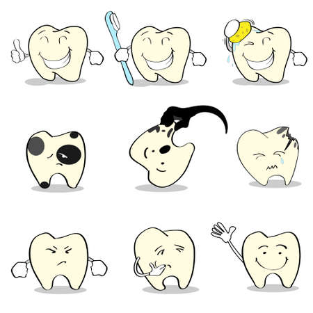 oral health: Teeth Dental Health Care Set Collection Flat Vector Illustration Illustration