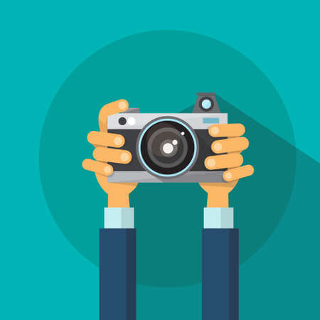 Hands Holding Photo Camera Photography Flat Design Vector Illustration Çizim