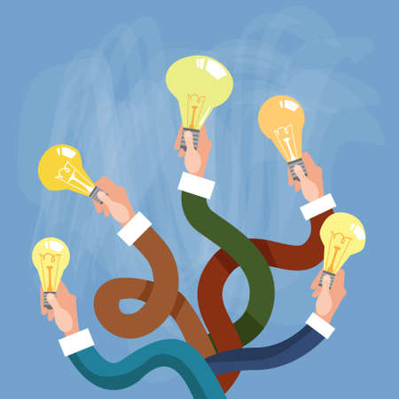 electric power: Group Hands Holding Light Electric Bulb New Idea Concept Flat Vector Illustration