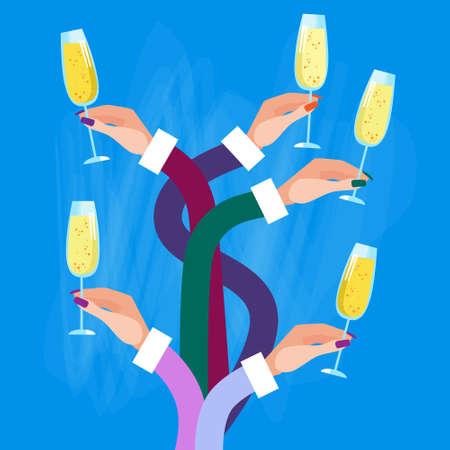 toasting wine: Long Hands Holding Glasses Champagne Wine Celebration Vector Illustration
