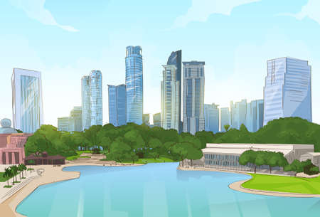 lake district: City Center Park Pond Trees Skyscraper View Cityscape Background Skyline Vector Illustration Illustration