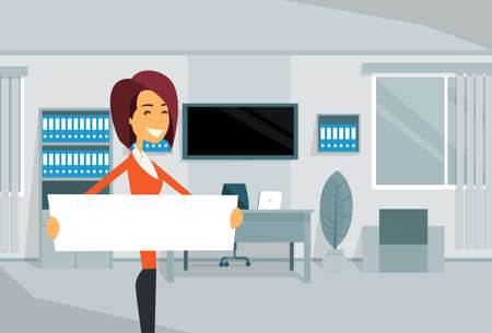 workers rights: Businesswoman With Empty White Board, Business Woman Standing In Office Vector Illustration