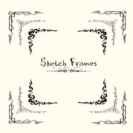 scarp: Sketch Frame Collection Hand Draw Vintage Set Vector Illustration