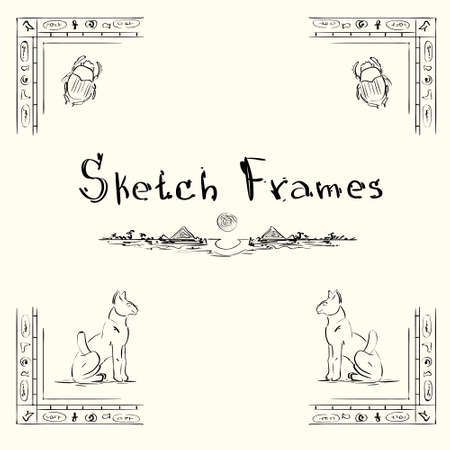scarp: Sketch Frame Collection Hand Draw Vintage Set Vector Illustration