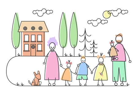 Ilustración Gran Familia Los padres de cuatro niños y Propiedades casa del animal doméstico del vector