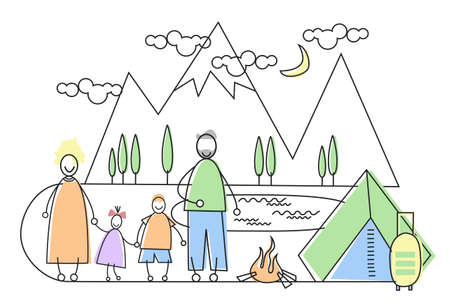 couple hiking: Big Family Camping Tourism Parents With Two Children Vector Illustration