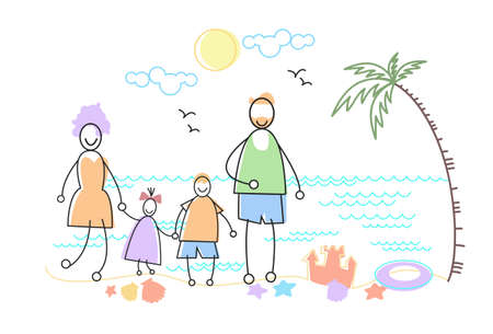 family holiday: Big Family Holiday Sea Seaside Stand Beach Parents With Two Children Vector Illustration