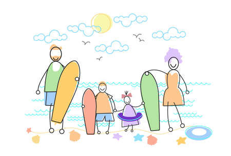 big family: Big Family Holiday Sea Seaside Holding Windsurfing Boards  Parents With Two Children Vector Illustration