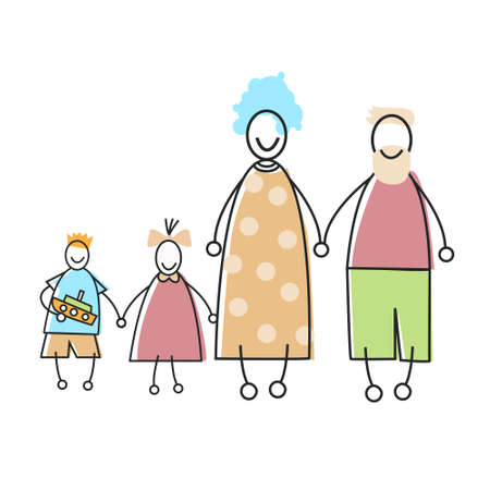 four hands: Happy Family Parents Kid Holding Hands Vector Illustration