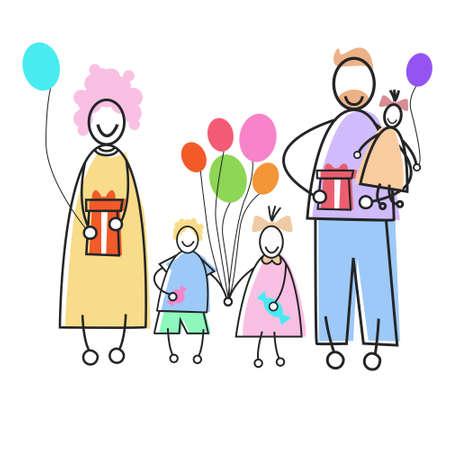 three children: Happy Family Parents Three Children Holding Balloons Presents Holiday Concept Vector Illustration Illustration