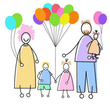 adult birthday party: Happy Family Parents Three Children Holding Balloons Holiday Concept Vector Illustration