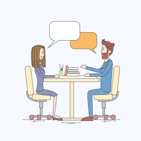 chat box: Business People Man and Woman Talking Discussing Communication Sitting at Office Desk Bubble Chat Box Vector Illustration