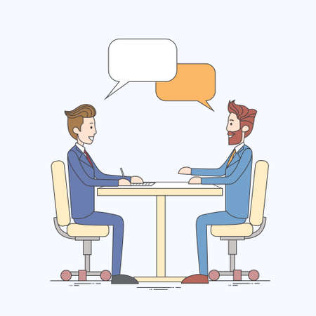 discussing: Two Business Man Talking Discussing Chat Box Bubble Communication Sitting at Office Desk Vector Illustration