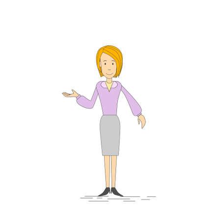 full length woman: Businesswoman Open Palm Gesture Empty Copy Space, Business Woman Full Length Vector illustration