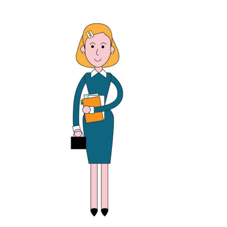 full length woman: Businesswoman Stand Holding Documents, Business Woman Full Length Vector Illustration