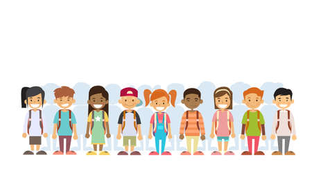 Children Group Mix Race Standing In Line Flat Vector Illustration