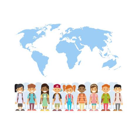 mix race: Children Mix Race Group Over World Map International Concept Flat Vector Illustration