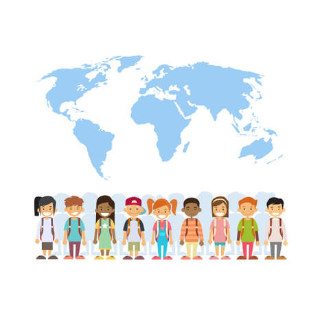 Children Mix Race Group Over World Map International Concept Flat Vector Illustration