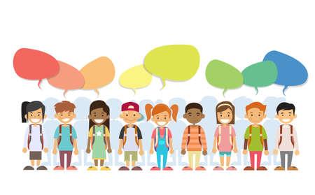 Children Happy Smile Group Colorful Chat Box Social Communication Flat Vector Illustration