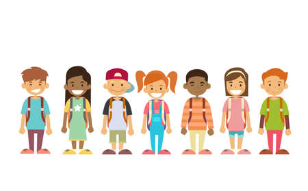 School Children Group Standing In Line Vector Illustration