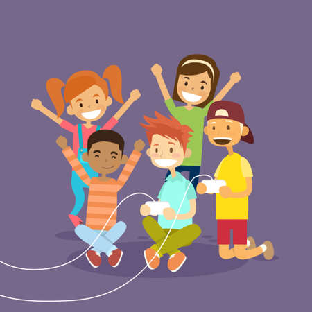 illustraton: Children Group Holding Joystick Playing Computer Video Game Flat Vector Illustraton