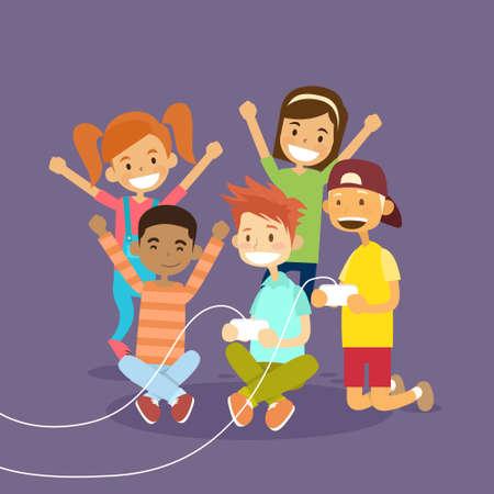 Grupo de niños que sostienen la palanca de mando que juega el ordenador del videojuego plana vector Illustraton