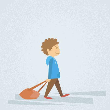 dragging: Little School Boy Walk Hold Bag, Dragging Backpack Flat Vector Illustration Illustration
