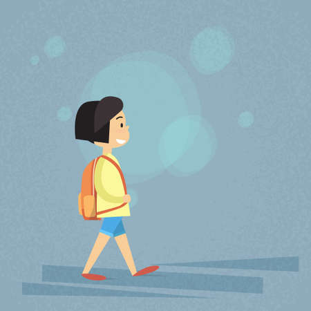 carry bag: Small School Girl Walk, Carry Bag Backpack Flat Vector Illustration
