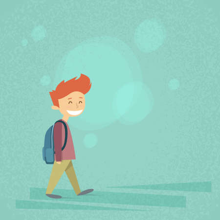 carry bag: Little School Boy Walk, Carry Backpack Flat Vector Illustration
