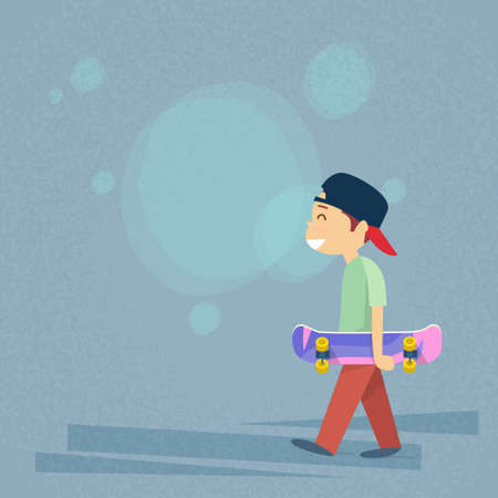 skateboard boy: Little Boy Holding Skateboard Flat Vector Illustration