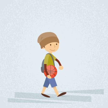 boy basketball: Little School Boy Holding Ball Basketball Flat Vector Illustration
