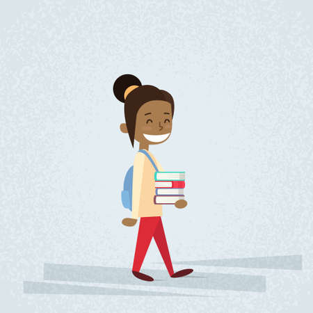 african student: Small School Girl Carry Stack Of Books Flat Vector Illustration