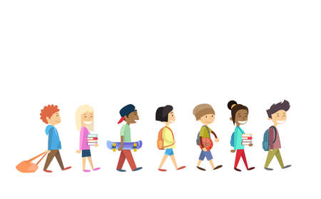 Children Group Walking School Students Go Isolated Flat Vector Illustration