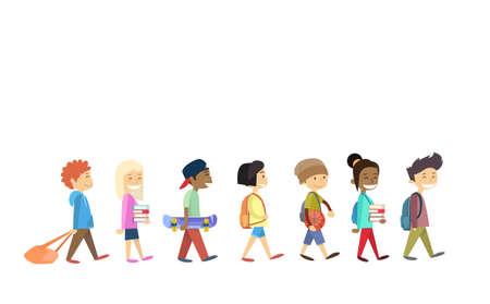 Children Group Walking School Students Go Isolated Flat Vector Illustration