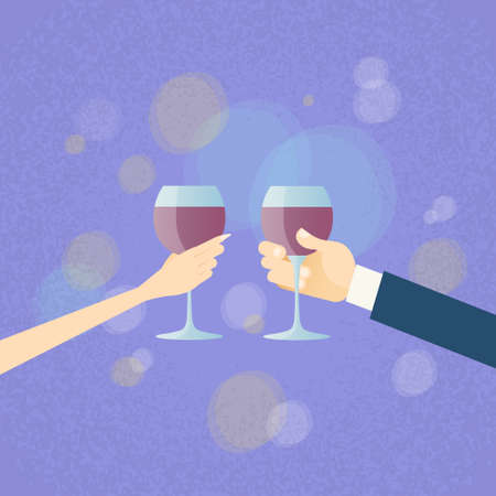 Valentine Day Greeting Toast Two Hands Hold Glasses Wine Flat Vector Illustration