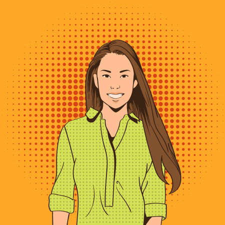 asian art: Asian Woman Smile Pop Art Colorful Retro Style Vector Illustration