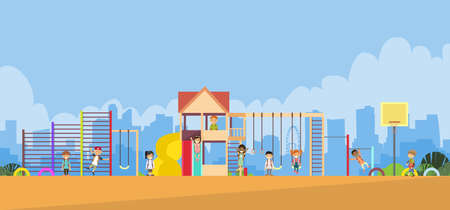 school yard: Children Playing in the Playground Outdoor Flat Vector Illustration