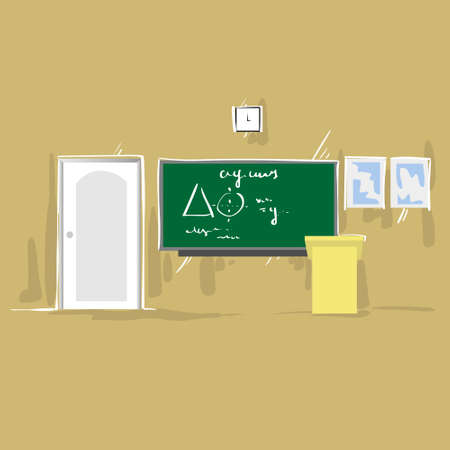 lecture hall: University Class Room Empty Green Board Thin Line Copy Space Illustration
