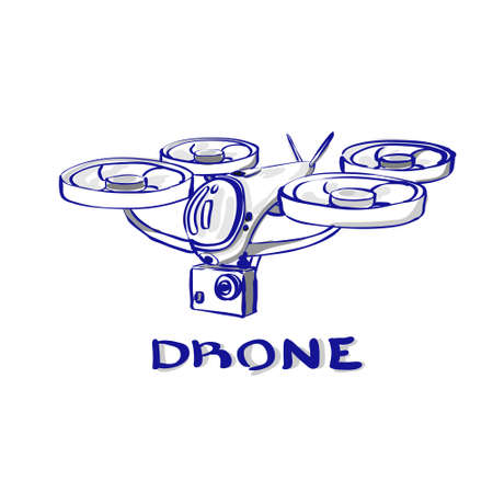 Drone Flying Air Quadrocopter Isolated Logo Icon Vector Illustration